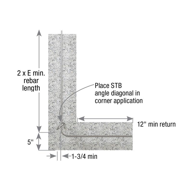 Plain view of corner of stem wall installation